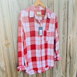 Long Sleeve Button Down Red Plaided Blouse